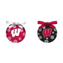 Wisconsin Badgers  LED Ball Ornaments Set of 2