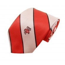 NCAA Officially Licensed Wisconsin Badgers Wide Striped Silk Necktie