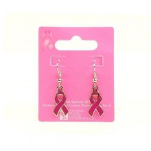Breast Cancer Awareness Dangle Pink Ribbon Earrings