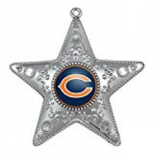 "Chicago Bears 4"" Silver Star Ornament"