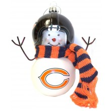 Chicago Bears Blown Glass Snowman with Scarf