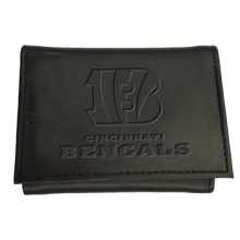 Cincinnati Bengals Black Leather Tri-Fold Wallet