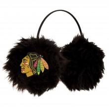 Chicago Blackhawks Embroidered Faux Fur Team Logo Earmuffs Cheermuffs