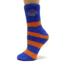 Boise State Broncos Striped Fuzzy Lounge Socks
