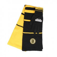 Boston Bruins Striped Scarf and Glove Set