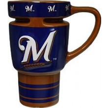 Milwaukee Brewers Sculpted Travel Mug with Lid, 15oz