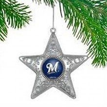 "Milwaukee Brewers  4"" Silver Star Ornament"