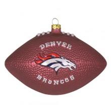 Denver Broncos Blown Glass Football Ornament