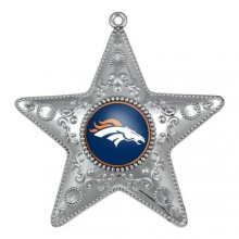 "Denver Broncos 4"" Silver Star Ornament"