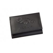 Denver Broncos Black Leather Tri-Fold Wallet