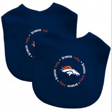 Denver Broncos 2 Pack Embroidered Baby Bib Set