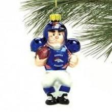 Denver Broncos Blown Glass Angry Football Player Ornament