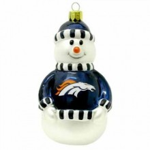 "Denver Broncos 3"" Blown Glass Snowman Ornament"