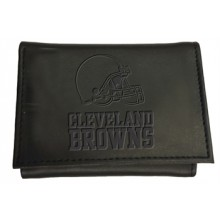 Cleveland Browns Black Leather Tri-Fold Wallet