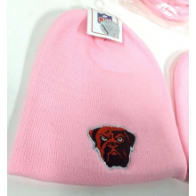 NFL Licensed Cleveland Browns Pink Embroidered Mascot Beanie