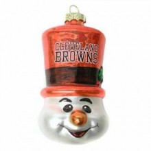 Cleveland Browns Blown Glass Top Hat Snowman Ornament