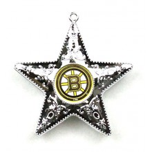 "Boston Bruins 4"" Silver Star Ornament"