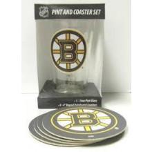 Boston Bruins Pint and Coaster Set