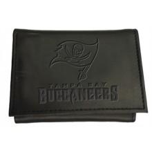 Tampa Bay Buccaneers Black Leather Tri-Fold Wallet