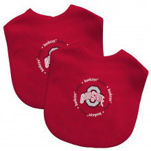 Ohio State Buckeyes 2 Pack Embroidered Team Baby Bibs