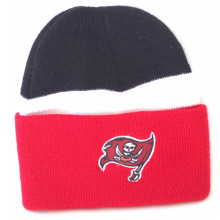 NFL Licensed Tampa Bay Buccaneers 3 Tone Cuff Knit Logo Beanie