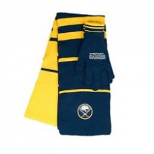Buffalo Sabres Striped Scarf and Glove Set