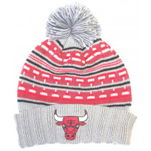 Chicago Bulls Stipe Pattern Cuffed Pom Beanie