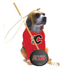 Calgary Flames Beagle Team Dog Ornament