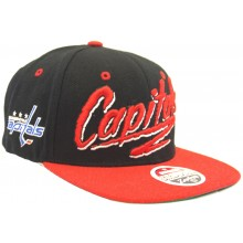 Washington Capitals Blast Script Adjustable Flat Bill Hat