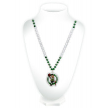 Boston Celtics Mardi Gras Spirit Beads With Logo Medallion