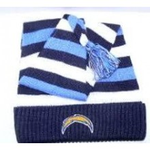 NFL Licensed San Diego Chargers Striped Toboggan Style Beanie