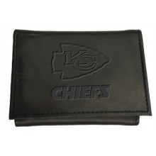 Kansas City Chiefs Black Leather Tri-Fold Wallet