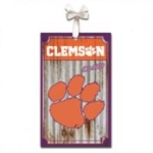 Clemson Tigers Corrugated Metal Ornament