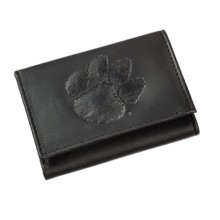 Clemson Tigers Black Leather Tri-Fold Wallet