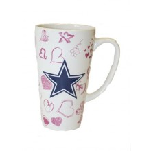 Dallas Cowboys 16oz Ceramic Sculpted Latte Mug with Heart Print
