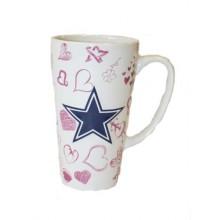 Dallas Cowboys 16oz Ceramic Sculpted Latte Mug with Heart Print