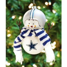 Dallas Cowboys Blown Glass Snowman with Scarf
