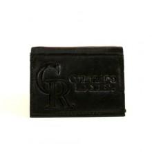 Colorado Rockies Black Tri-Fold Leather Wallet