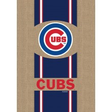 "Chicago Cubs Burlap Vertical House Flag 28"" x 44"""