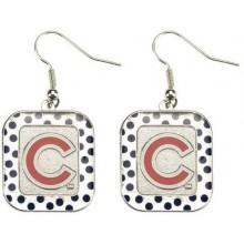 Chicago Cubs Square Polka Dot Dangle Earrings