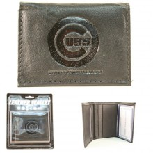 Chicago Cubs Black Tri-Fold Leather Wallet