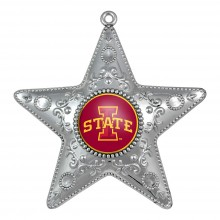 "Iowa State Cyclones 4"" Silver Star Ornament"
