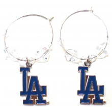 Los Angeles Dodgers Beaded Hoop Dangle Earrings