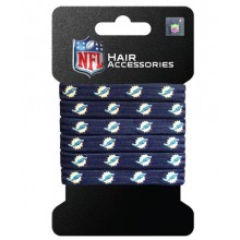 Miami Dolphins Hair Accessory 6-Elastic Ponytail Bands