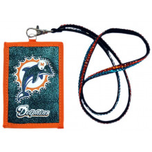Miami Dolphins Beaded Lanyard I.D. Wallet