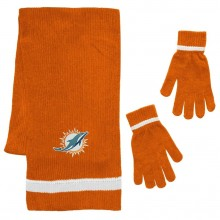 Miami Dolphins Chenille Scarf & Glove Set