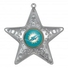 "Miami Dolphins 4"" Silver Star Ornament"