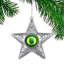 """Oregon Ducks 4"""" Silver Star Ornament"""