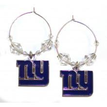 New York Giants Beaded Hoop Earrings