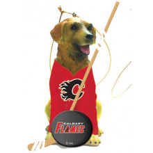 Calgary Flames Golden Retriever Team Dog Ornament